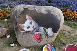 墙绘彩绘 石头3D画