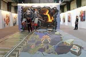 首钢火车头  墙绘彩绘