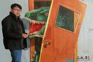 恐龙撞门 墙绘彩绘