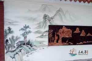 佛山二中国画文化墙2 墙绘彩绘