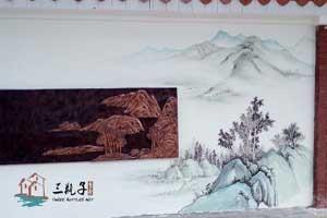 佛山二中国画文化墙1 墙绘彩绘