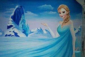 儿童房墙绘彩绘冰雪奇缘公主