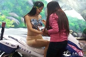 天津电动车展会人体彩绘